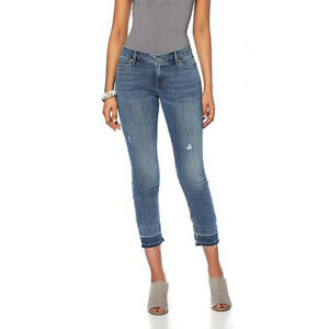 Lucky Brand Women's Curvy Blue Jeans Lolita Lorain Crop Released Hem Stretch
