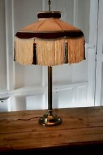 Large Reproduction Antique Brass Table Lamp with Shade