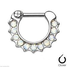 "Septum Nose Clicker Petite w/Opalite White Gemmed 16 Gauge 5/16"" Steel Body Jewe"