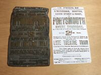 Antique Letterpress Magnesium Printing Plate PORTSMOUTH 2/- LATE THEATRE TRAIN