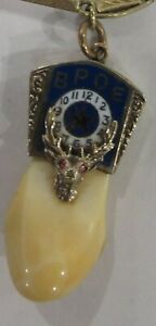 Benevolent Protective Order Elks 14k Gold Tooth Watch Fob and Chain 1929