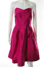 Diane Von Furstenberg Hot Pink Silk Sweetheart Neck Pleated Front Bowenia Dress