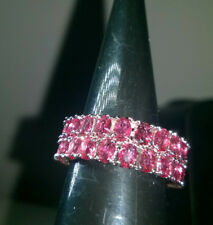 CERISE PINK CREATED SAPPHIRE DOUBLE BAND RING SIZE Q