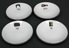 "Set of 4 -KATE SPADE -CONCORD SQUARE ""CAUSE A STIR TIDBIT SNACK PLATES"" by LENOX"