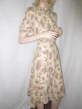 50's Vtg Punch Art Embroidery Day Garden Dress, Medium Mrs. Cleaver