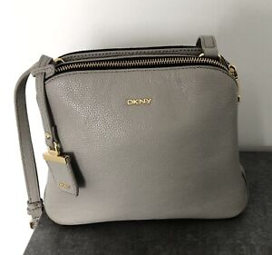 DKNY Grey Leather Cross Over Bag - Pre Owned
