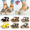 Womens Platform Sandals Espadrille Ankle Strap Comfy Summer Peep Toe Shoes Size