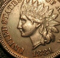 OLD US COINS 1881 INDIAN HEAD CENT PENNY FULL LIBERTY BEAUTY