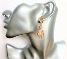Beautiful Rose Gold Tone Teardrop Dangle Earrings with Diamante