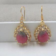 Red Green Jade Teardrop Drop Imitation Diamond Gold Plated Hook Dangle Earrings