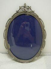 Antique Victorian Silver FLEUR DE LIS & HEART Motif Oval Picture Frame