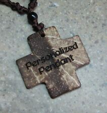 PERSONALIZED Coconut Shell Cross Pendant Necklace 18in