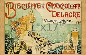 Vintage Art Nouveau Print - Biscuits & Chocalat Delacre - 11x17 inches