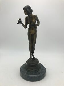 "French ART DECO Bronze Sculpture ""Nude Girl w/Bird""  PIERRE Le FAGUAYS (FAYRAL)"