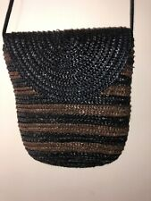 Black & Brown Raffia Straw Cross Body Shoulder Bag