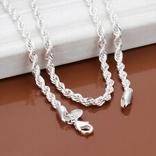 Fashion 925 Sterling Silver Rope Twist Chain Choker Necklace Jewerly 16-30""