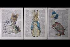 3X Beatrix Potter Prints Vintage Dictionary Page Wall Art Pictures Peter Rabbit