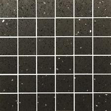 Mosaikfliese Quarz Komposit Quarzstein Schwarz Glänzend 30x30 cm (4,7x4,7 cm)