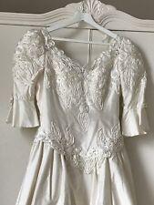 Wedding Dress Silk Size 14 Romantic Goth Steampunk Long Train Pearls Frill Sleev