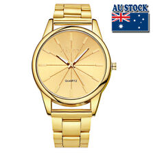 WholeSale Hot Classic Men's Stainless Steel Gold Plated Gold Dial Quartz Watch