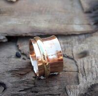 Copper Spinner Ring Meditation Ring Statement Ring Handmade Ring Size s8791