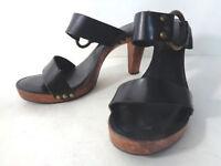 FRYE Sophia Ring US 8.5M Black Leather with Wood Heel Sole Slide Sandals BRAZIL