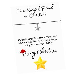 Christmas Friends are like Stars Verse Card - Christmas Star Charm Wish Bracelet
