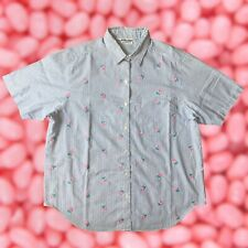Vintage 80s Women's Flower Embroidered Short Sleeve Button Down Shirt Sz 14