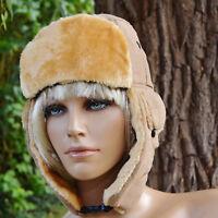 Chapka bonnet chapeau Femme cache oreille fourrure beige aviateur ZAZA2CATS new