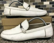 HUGO BOSS Mens Slip On White Dress Loafers Leather Buckle Size 7.5 (50180916)