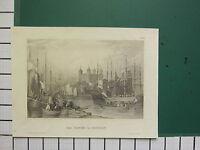 C1815 Antico London Tedesco Stampa ~ The Torre Di Fiume Tamigi Navi Imbarcazioni