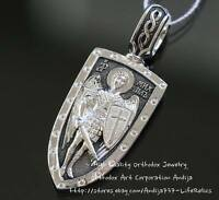 WARRIOR SHIELD ST ARCHANGEL MICHAEL SILVER 925 PROTECTIVE RUSSIAN ORTHODOX NEW