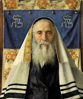 Oil painting isidor kaufmann - kauffman portrait rabbi with prayer free shipping