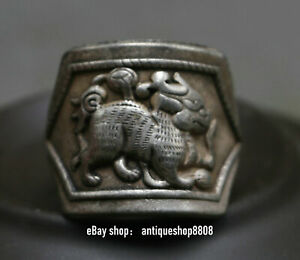 Collected Chinese Miao Silver Unicorn Beast Tiger Animal Style Wedding Ring