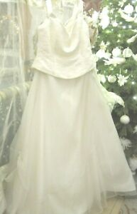traumhaftes Brautkleid Gr. 46 WEISE 2-teilig Satin Tüll Spitze Perlen - neu !! -