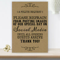 Wedding No Photos On Social Media Sign Poster For Reception BUY 2 GET 1 FREE B9