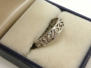 Abstract Fretwork 925 Sterling Silver Ring Curves Cut Out Vintage UK Size P 1/2