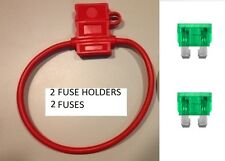 (2) 12 GAUGE ATC FUSE HOLDER With COVER + (2) 30 AMP FUSES IN-LINE 12 GA. USA