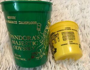 Lot Of 2 Mardi Gras 1988 Pandora's Majestic Odyssey Mobile Cups Yellow Green