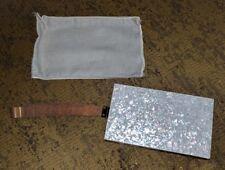 VINTAGE METAL CLUTCH LUCITE HANDBAG EVENING SPARKLE COMPACT MAKEUP BAG WRISTLET