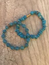 blue Bracelets Screw Clasp Set of Two Natural