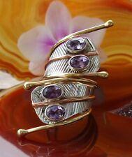 Ω Ring Sterling Silver 925 Snake Cobra Eyes Purple Amethyst Stone D February