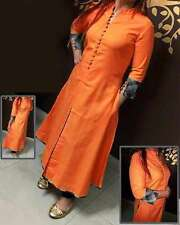 Selfie Style- Trendy Cotton with inar Style Center Crop  Kurti orange
