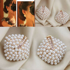 Fashion 1 pair Rhinestone Stud Earrings Women Piercing Simulated Pearl Earrings