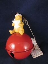Disney Classic Pooh Christmas Ornament Sitting on Large Jingle Bell 1990s NEWTAG