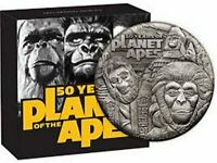 2oz Silver Antiqued COIN Planet of the Apes 50th Anniversary - LTD Mintage 2000
