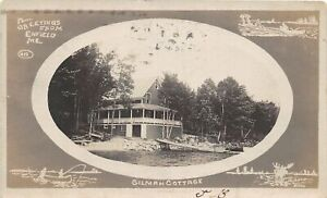 H41/ Enfield Maine RPPC Postcard c1910 Greetings Gilman Cottage Fancy