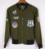 Bomber Jacket Womens Size S Casting LA Olive Army Green Black w Patches Lined