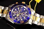 Men's Invicta Pro Diver Indigo Blue Dial 2-Tone SS Chronograph Dial $695 Watch !