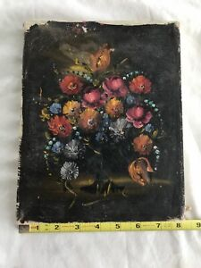 """Vintage Original Oil Painting Floral  by Wilma on canvas 8""""x10"""""""
